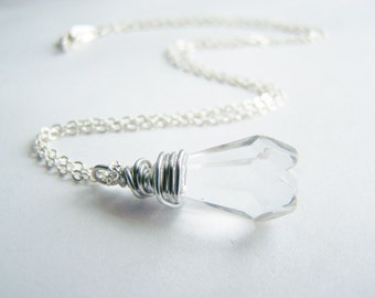 Polar Ice - Crystal Clear Glass Necklace - FREE shipping WAI - affordable quality jewelry - bridesmaid - beach weddings sale - Autumn