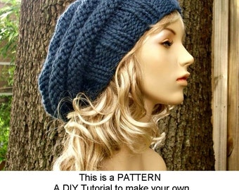 Instant download knitting pattern womens hat pattern knit instant download knitting pattern knit hat pattern original and oversized beehive beret pattern womens dt1010fo