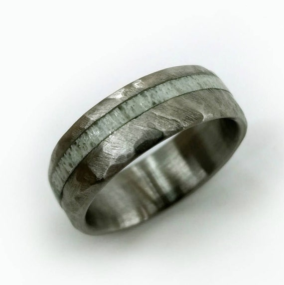 Hammered Antler Ring Elk Antler Ring Hammered Titanium Ring