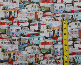 Vintage Travel Trailers Summer Campers BY YARDS Elizabeth's Studio Cotton Fabric