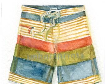 Watercolor Baggies, Baggies Print, Swim Trunks Print, Bathing Suit Print
