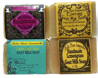 Goat Milk Soap, Gift for her, handmade soap, Lemongrass, cold process soap, ready to ship, birthday gift, honey, shaving soap, soaps