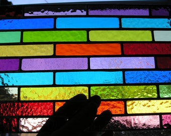 Abstract / Geometric Panel, Colour Spectrum, Rainbow, Stained Glass Suncatcher, Handmade in England