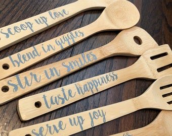 6-Piece Bamboo Utensil Set with Love Sayings