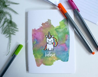 Unicorn Notebook – Unicorn and Rainbows Lined Journal – Unicorn Gift
