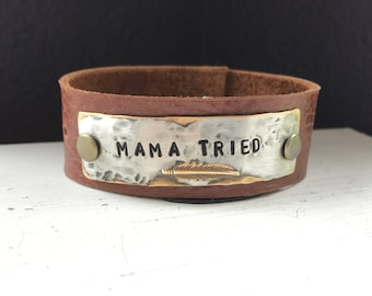 MAMA TRIED, feather, hand stamped leather cuff bracelet affirmation ~ mantra ~ inspirational ~ jewelry gift idea