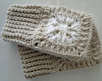 Crochet Snow Flake Wrist Warmers, Fingerless Gloves, in shades of Brown and Cream and White