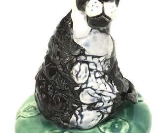 Ceramic Tuxedo Cat Sculpture