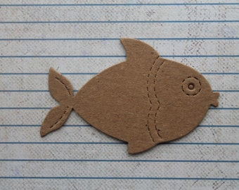 4 Bare chipboard kissing fish diecuts 3 1/8 inch wide