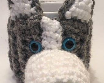 HUSKY Dog - hand crochet mug cosy with mug