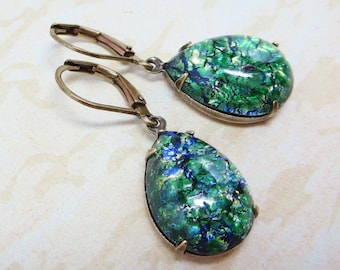 Green Fire Opal Earrings Emerald Green Opal Earrings