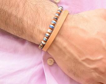 Men Bracelet Tan Leather, Mens Bracelet Beaded, Men Bracelet Set 2, Anniversary Gift for Husband, Mens Jewelry, Leather Bracelet Men