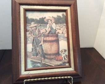 Vintage picture Tom Sawyer and Huckleberry Finn, Jim Daly inspired