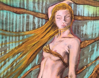 Wrapped In Gold Original Painting by artist Rafi Perez Mixed Medium and Gold Leaf on Canvas 18X24