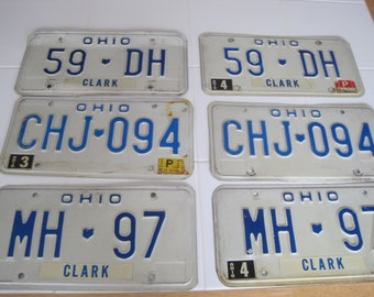 Your Choice Of 2 Vintage Ohio License Plates 80's MH, CHJ, DH