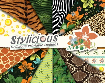 Wild Life - Jungle - Pattern Digital Paper Pack - Printable Paper - Digital Collage Sheets - Instant Download