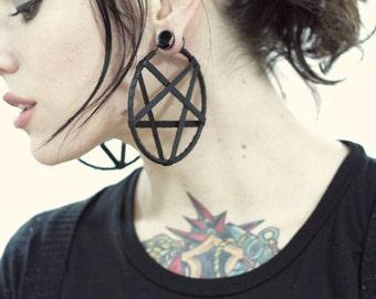 Small Leather Pentagram Hoop Earrings