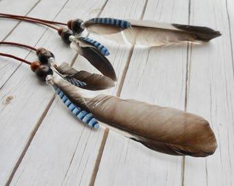 Lange Blauwe Vlaamse gaai vogelveren oorbellen natuurlijke veren echt leer houten kralen Boho zigeuner indiaan dames sieraad handgemaakt