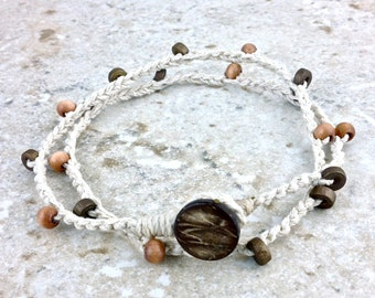 Double Wrap Anklet Wrap Bracelet White Hemp Beaded Anklet Boho Festival Jewelry Beach Bohemian Jewelry Summer Anklet Ivory Hemp Wood Beads