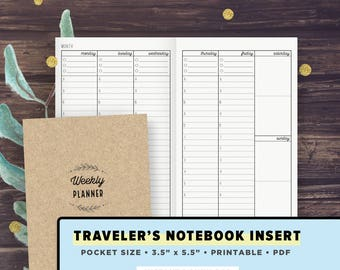 POCKET Size TN | Vertical Weekly Spread, Weekly Planner, Undated | Travelers Notebook Inserts Printable, Field Notes | Digital Download