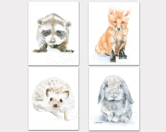Woodland Watercolor Animal Art Prints Nursery Childrens Room Set of 4 Raccoon Fox Hedgehog Rabbit PORTRAIT-Vertical Orientation
