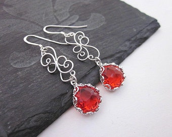 Women's Red Glass Jewelry, Red Teardrop Dangle Earrings, Pretty Red Gift, Scroll Earrings, Silver & Red Fashion Earrings, Fancy Red Earrings