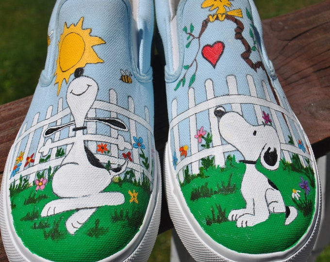Snoopy Custom Hand Painted sneakers snoopy shoes, sorry sold