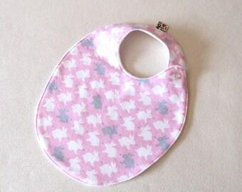 Bunny  Bib , Toddler Girl Bib, Pink  and White Baby Shower Gift, Trendy Bib, Pink Bib, Absorbent Bib, baby shower gift