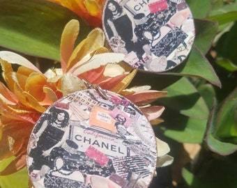 All About Chanel Ear Art -Chanel Essence - Made For Fun Handmade Novelty Decoupage Ear Art Earrings - Faux Leather Canvas