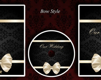 """DVD Case. Wedding DVD/CD case with Printed Disc. """"Our Wedding"""" Bow style"""