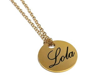 Personalized disc necklace, Engraved name necklace, Custom name necklace gold, Personalize name necklace, Nameplate necklace, ID necklace.