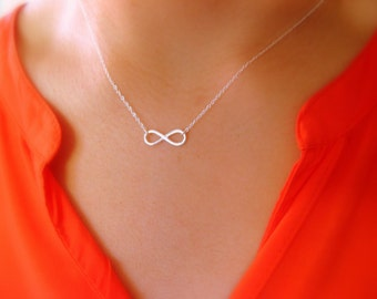 Dainty Infinity Necklace - Little Sterling Silver Necklace with sterling silver Infinity connector - infinity necklace - charm necklace