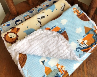Noah's Ark Chenille Burp Cloth Set, Studio E Noah's Story Chenille Burp Cloths, Tossed Animals Chenille Burp Cloth Set, Owls and Parrots