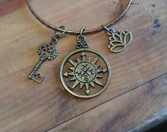 Compass Charm/Bangle  Bracelet with lotus flower and skeleton key charms