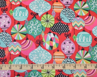 Blend Fabrics. Cool Yule. Baubles Red - Cotton fabric BTY - Choose your cut