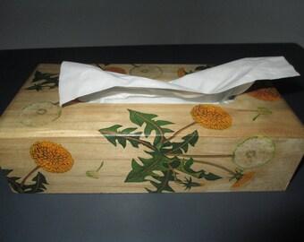 Wooden decorative dandelions tissue box.