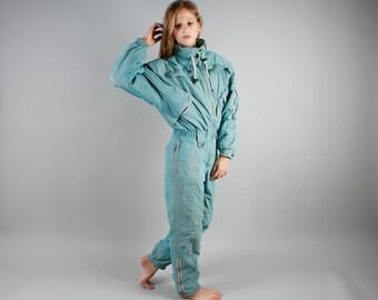 Turquoise Ski Suit Blue Snowsuit One Piece Ski Suit Hipster Winter Wear Turquoise Snow Gear Bright Jumpsuit Snowboard Pants Size Small