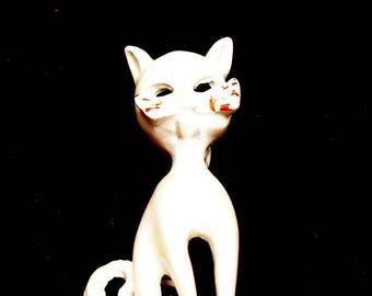 60s CAT brooch, White enamel  GHOST kitty.