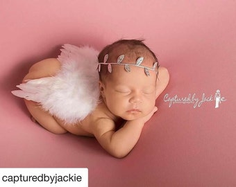 White Angel Wings Feathers Baby Wings AND/OR Foil Leaf Headband for newborn photos, bebe foto, prop, photographers, Lil Miss Sweet Pea