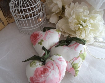"""hearts hanging shabby chic cotton pink and cream fleuriblanc """"roses anciennes"""" set of 3"""