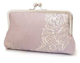Lilac clutch bag, linen purse, embroidered flower handbag with chain handle, LILAC BELLE