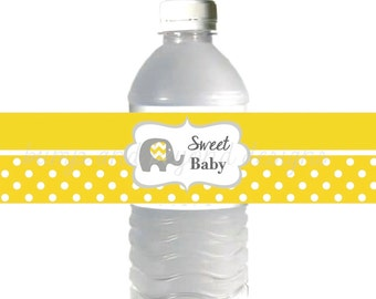 Yellow Grey Chevron Baby Shower Favors Water Bottle Labels Sweet Baby Shower Elephant Printable INSTANT DOWNLOAD Girl Boy 042