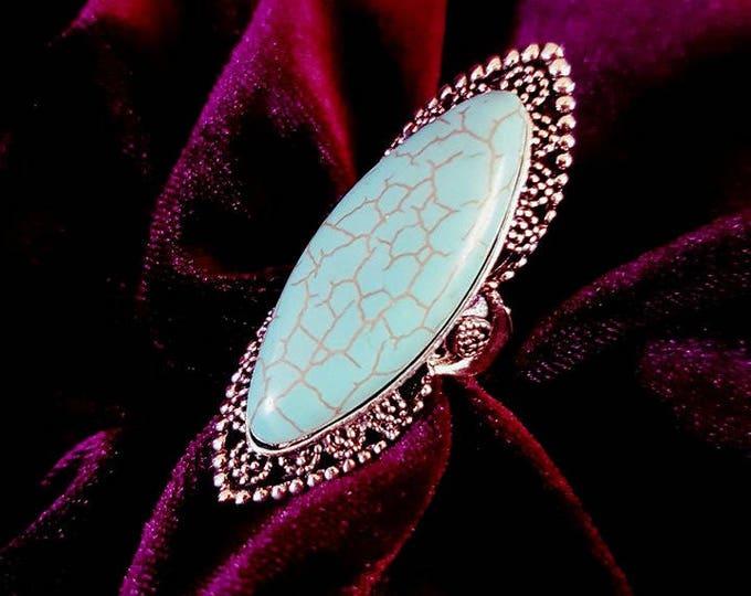 Turquois Boho Ring - bohemian gothic goth wicca gemstone spiritual