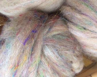 Alpaca Merino Silk Firestar Blend Roving- Fawn Multi-Color Pencil Roving- 4 oz.
