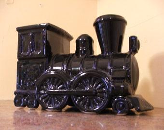 Vintage 1950s Shawnee Pottery USA Black Locomotive Planter #732