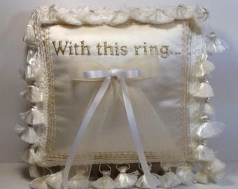 A hand embroidery wedding ring pillow