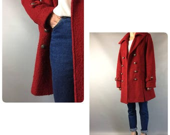 1970's Red Wool Vintage Coat Double Breasted Full Length Scarlet Wine Minimal Silver Buttons Coat Medium Sz 8-10 US Oversized Mad Men Coat