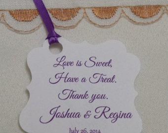 Personalized Favor Tags 2x2'', Wedding tags, Thank You tags, Favor tags, Gift tags, Bridal Shower Favor Tags, love is sweet