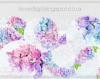 Flowers Printable Vintage romantic circle digital collage sheet  - scrapbooking, cardmaking, tags - vintage images paper goods - set of 6