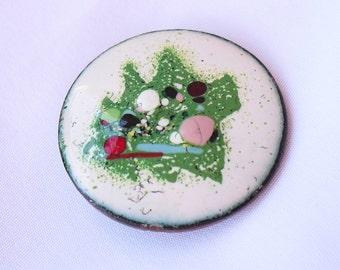Vintage Copper Enamel Splatter Pin  Atomic Abstract Splatterware 1970s Jewelry